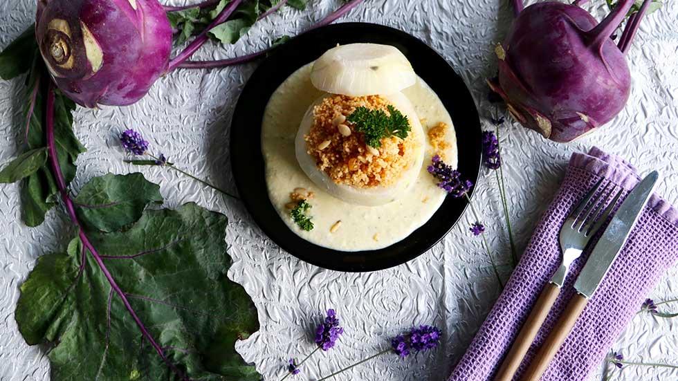 Kohlrabi mit orientalischem Coucous an Gorgonzola