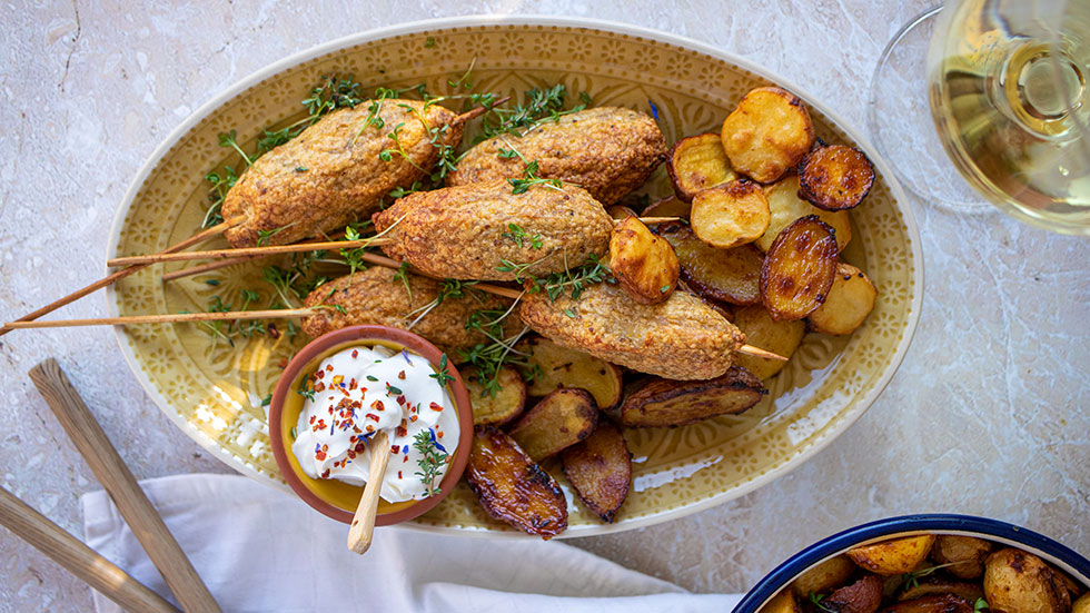 Poulet-Kebabs mit Ofen-Kartoffeln
