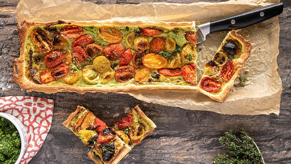 Cherry-Tomaten-Tartelette mit Bärlauch-Ricotta